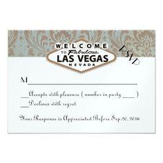 Retro Damask Floral Las Vegas Wedding RSVP 3.5x5 Paper Invitation Card