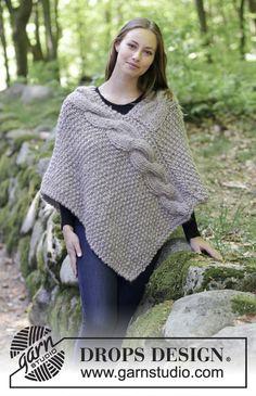 Noelia poncho / DROPS - free knitting patterns by DROPS design Poncho Knitting Patterns, Knitted Poncho, Free Knitting, Baby Knitting, Crochet Patterns, Poncho Sweater, Seed Stitch, Moss Stitch, Drops Design