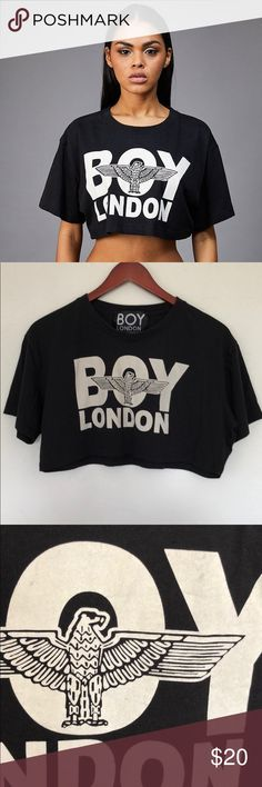 Boy London Logo Crop T Shirt Some gray smudges shown in last photo. No other flaws. Size large but fits like an oversized small. Boy London Tops