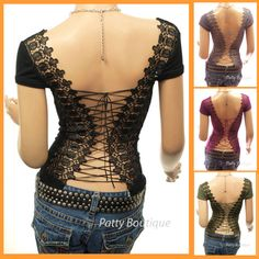 Lacy lace-up-the-back top, $23.99