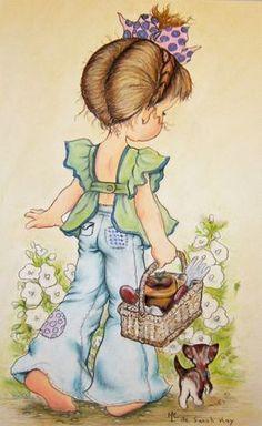 Immagini Sara Kay e Holly Hobbie Sarah Key, Holly Hobbie, Papier Kind, Decoupage, Digi Stamps, Cute Illustration, Garden Illustration, Illustrations, Vintage Cards