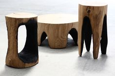 Ausgebrannt is a series of stools and low tables by Kasper Hamacher.  The production process looks like fun. By the way, ausgebrannt is German for burnt out....Kasper Hamacher uses burning coals and timber to notch out legs for each piece.If you're not into furniture built with conventional tools, you may find the Ausgebrannt furniture series right up your alley.