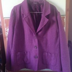 XL Adorable Wool Jacket  Excellent quality, purple, XL Wool jacket. Super cute and super comfy :) Perfect for spring evenings! Jackets & Coats