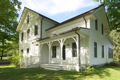 19th Century Farmhouse Renovation The exterior color is Benjamin Moore, Atrium White, low lustre.