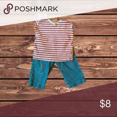 Shirt & Pants Red and white striped t-shirt with pocket on left-side (Size: 18 Months - 2T).  Knee-length jean shorts (Size: 2T).  No holes, tears, or stains.  Material: 57% Cotton, 43% Polyester (T-Shirt), 100% Cotton (Shorts) Matching Sets