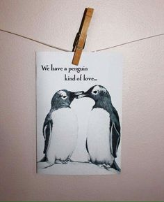 Penguin Love Card on Etsy, Penguin Tattoo, Penguin Art, Penguin Love, All About Penguins, Cute Penguins, Penguin Pictures, Cute Love Cartoons, Love Cards, Diy Cards