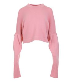 pink pleated sleeve sweater