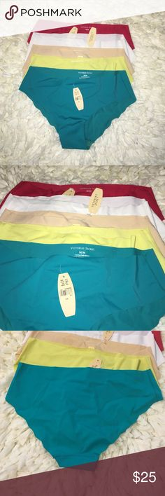 Set of 5 No Show Victoria Secret Panties Size M You get what you see! All brand new with tags. Set of 5 no show Victoria Secret Panties. Colors include: turquoise, yellow, white, nude and red. Stretchy and super soft! Victoria's Secret Intimates & Sleepwear Panties