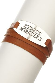 Expect Miracles leather bracelet by Alisa Michelle.