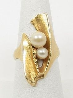 "Björn Weckström for Lapponia Jewelry ~""Morning Light"" ring, in 18k gold & pearls."