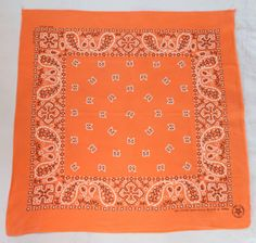 Vintage Orange Bandana, Made in USA. Cotton, RN15502 by ilovevintagestuff on Etsy
