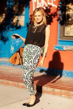 Inga Popkova, Topshop brand ambassador; Topshop shirt, pants, and shoes, Céline bag.