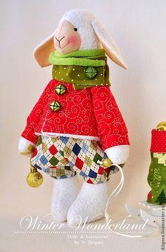 Купить Новогодний барашек - ярко-красный, игрушка овечка, барашек, новогодний барашек, новогодний подарок