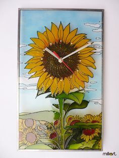 Hand Painted Glass Clock Sun Flowers Wall Clock by MilliartGlass, $90.00