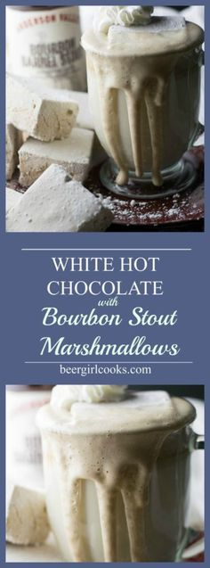 White Hot Chocolate with Bourbon Barrel Stout Marshmallows is an adult version of a classic winter warmer made with white chocolate and beer marshmallows. via @beergirlcooks1