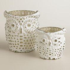 One of my favorite discoveries at WorldMarket.com: Whitewash Mercury Glass Owl Tealight Candleholders