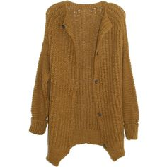 Humanoid Him Cardigan in Curry ($470) ❤ liked on Polyvore featuring tops, cardigans, outerwear, jackets, sweaters, brown cardigan, alpaca cardigan, long button up cardigan, long brown cardigan and long sleeve tops