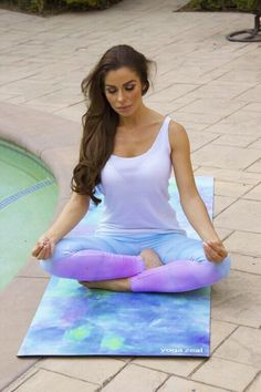 Yoga Model on our beautifully printed 'Monet Mat'
