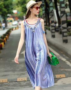 #AdoreWe #VIPme Sheath Dresses❤️Designer LANJIAN Boho Sleeveless Embroidery Loose Sheath Midi Dress - AdoreWe.com