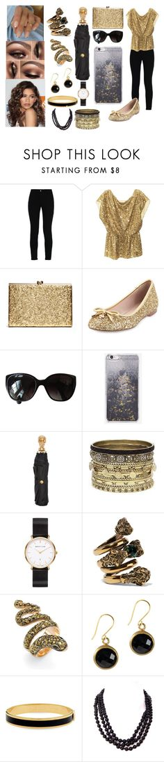 """""""Black and Gold"""" by jevance ❤ liked on Polyvore featuring STELLA McCARTNEY, Alice + Olivia, Kate Spade, Chanel, Skinnydip, Alexander McQueen, Daytrip, Abbott Lyon, Gucci and Palm Beach Jewelry"""