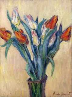 The Athenaeum - Vase of Tulips (Claude Oscar Monet - 1885)