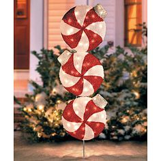Lighted Peppermint Christmas Yard Art