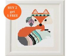 Set Of 5 Forest Animals Cross Stitch Pattern Fox Arrow Feathers Pens Boho Trim - Ideen finanzieren Modern Cross Stitch Patterns, Cross Stitch Designs, Cross Stitching, Cross Stitch Embroidery, Arrow Feather, Cross Stitch Animals, Cross Stitch Kids, Fox Pattern, Le Point