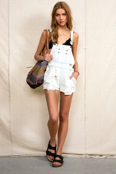 Urban Renewal Washed-Out Denim Overall Short #urbanoutfitters