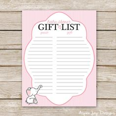 Pink Elephant Baby Shower Gift List  Printable by AspenJayDesigns