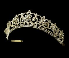 Gold Plated Crystal Floral Bridal Tiara,- Affordable Elegance Bridal -