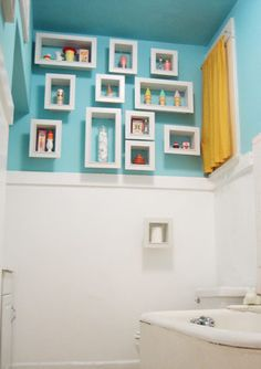 Bathroom storage. This would be cute with kids bath toys. Rubber duckies and colorful scrubbies.