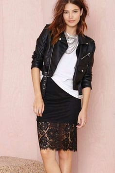 Nasty Gal, Let's Ride Moto Jacket, After Party Vintage Essential Tee, Empire Necklace and Jana Skirt.