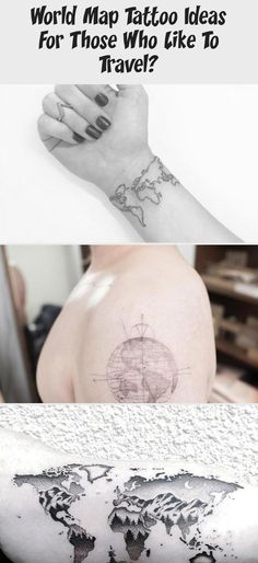 World map Tattoo ideas for those who like to travel? Globe Tattoos, World Map Tattoos, Card Tattoo, I Tattoo, Paper Plane Tattoo, Greece Map, Detailed World Map, Water Color World Map, Hand Poke