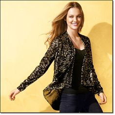Look for it in AVON Campaign 21 Foil-Print Swing Jacket*   Add a regal touch with this swing jacket. Polyester. Hand wash, dry flat. Imported.       Sizes: S/M(6-12), L/XL(14-18)    Brochure:  $19.99       Size: 1X/2X(18W-24W)    Brochure:  $24.99               gold standard fall's most brilliant trend is inspired by the golden age of glamour.