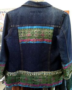 vintage denim jacket from Byron bay with vintage and non vintage sari trims from new delhi