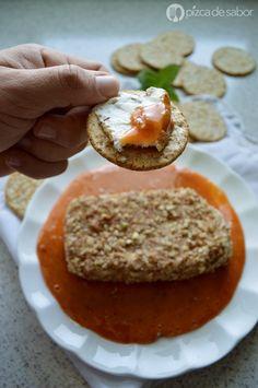 Queso crema con nuez en salsa de chabacano al chipotle + recetas extras de sabores www.pizcadesabor.com
