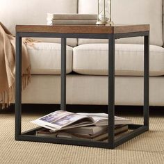HomeVance Brynn Industrial Rustic End Table, Brown