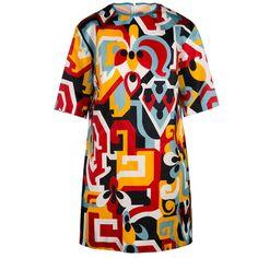 Sale// dsquared2 - aztec mini dress (16.079.580 IDR) ❤ liked on Polyvore featuring dresses, silk mini dress, aztec print dress, short silk dress, silk dress and short dresses