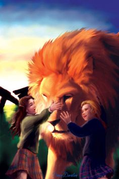 Susan, Aslan, and Lucy by Dawn Doughty Davidson