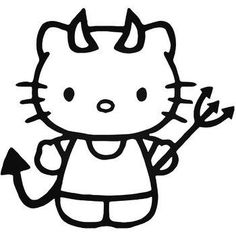 Evil hello Kitty/ devil kitty/ vinyl car decal/ various sizes & colors Hello Kitty Drawing, Hello Kitty Art, Hello Kitty Tattoos, Hello Kitty Coloring, Hello Kitty Birthday, Sanrio Hello Kitty, Cat Stickers, Wallpaper Stickers, Kitty Wallpaper