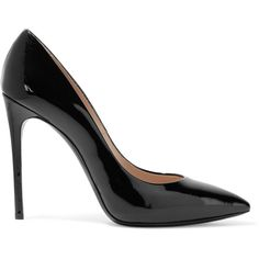 Casadei Patent-leather pumps ($280) ❤ liked on Polyvore featuring shoes, pumps, black, pointed toe pumps, slip on shoes, patent pumps, black patent shoes and black patent leather shoes