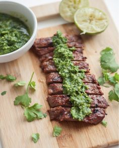 101 recipes to try now - A perfectly elegant savory dish: Cilantro-lime steak with chimichurri sauce.