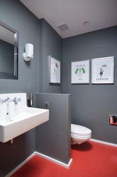 Small half bathroom ideas bathroom ideas small half baths dark grey walls and wall mounted sink . Small Half Bathrooms, Small Half Baths, Grey Bathrooms Designs, Small Bathroom Renovations, Bathroom Remodeling, Bathroom Red, Modern Bathroom, Bathroom Ideas, Downstairs Bathroom