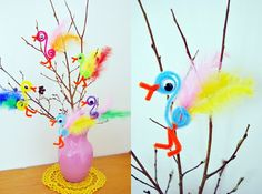 Easy and cute Easter craft for kids~pipe cleaner, feather, eyes & glue