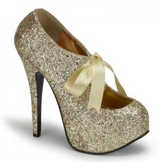 Teeze Gold Glittered Platform Pump - New at GothicPlus.com Price: $75.00  Glitter covered pump has a concealed platform that is about 3/4 inches high and a 5 3/4 inch heel. Satin bow tie front for a touch of whimsey. In so many pretty colors it will be hard to choose just one - here in wear with everything metallic gold! The perfect party shoe!  All man made materials with padded insole and non-skid sole.  #gothic #fashion #steampunk