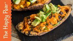 Stuffed Sweet Potato Recipe - The Happy Pear Healthy Superbowl Snacks, Healthy Vegan Snacks, Vegetarian Recipes, Healthy Eating, Healthy Recipes, Vegan Food, Vegan Vegetarian, Yummy Recipes, Free Recipes
