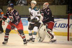 Worcester Sharks forward Daniil Tarasov attempts to screen Springfield Falcons goaltender Anton Forsberg (Nov. 28, 2014).