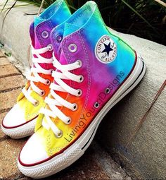 TieDye Painted Shoes Custom Converse Sneakers Anime/Fandom Custom Shoes, Best Gift for Men Women · FanArtShoes · Online Store Powered by Storenvy Tie Dye Converse, Rainbow Converse, Hi Top Converse, Custom Converse, Converse Sneakers, Custom Shoes, High Top Sneakers, Rainbow Shoes, Rainbow Sneakers