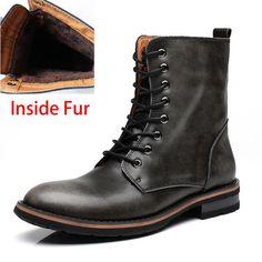 Motorcycle Boots Vintage Combat Winter Fur Cow Split Leather Waterproof Buckle Military Boots Men Shoes