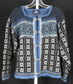 Skjaeveland s Sweater Blue Pattern Wool Cardigan Pewter Clasp Norwegian Misses | eBay